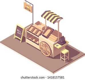 Vector isometric wooden farmer kiosk or cart stand for fruits and vegetables. Retro design with wooden wheel, awning, boxes and crates, cash register, credit card payment terminal