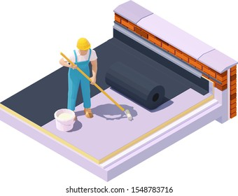 Vector isometric worker at flat roof waterproofing and insulation. Rubber roofing membrane, EPDM or Roofing felt installation on low-slope building roof