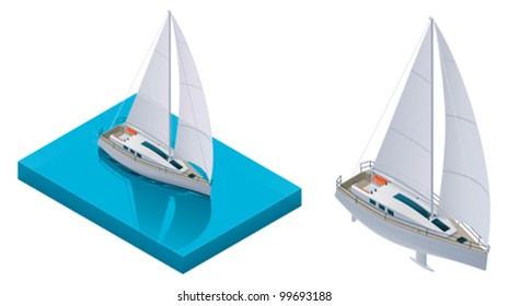 Vector isometric yacht boat on the water surface