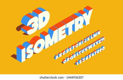 Vector isometry font 3d bold style for infographics, party poster, kids book, t shirt, flier, decoration, card, sale banner, printing on fabric, industrial. Cool typeface. Trendy alphabet. 10 eps