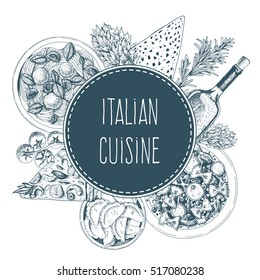 Vector italian cuisine illustration. Italian food frame illustration. Menu label with ravioli, farfalle, pizza and wine . Linear graphic