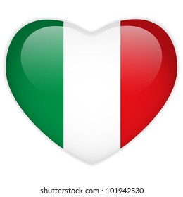 Vector - Italy Flag Heart Glossy Button