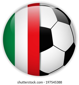 Vector - Italy Flag with Soccer Ball Background