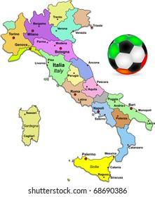 Vector Italy football map illustration