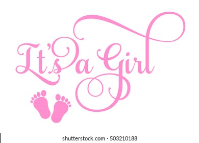"Vector ""It's a Girl"" inscription"