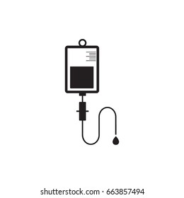 Vector iv bag icon. Saline symbol on background. The concept of treatment and therapy, chemotherapy. Modern design flat design, web button