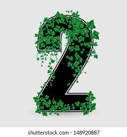 Vector Ivy Leaf Decorated Number Two Illustration
