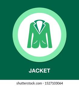 vector jacket icon, man clothing fashion, male suit - coat illustration isolated