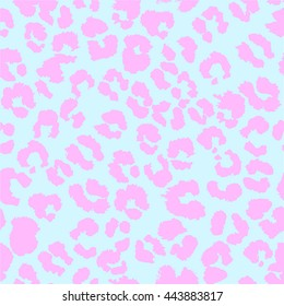 Vector jaguar pattern. Light pale  blue and pink illustration.