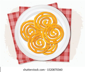 Vector Jalebi illustration-from top angle