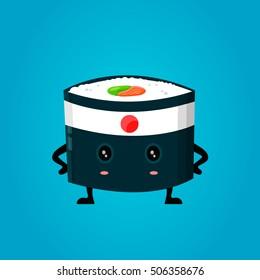 Vector japan ninja sushi flat design cartoon character illustration.