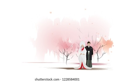 vector japanese bride and groom on pink tree background