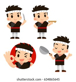 Vector Japanese Chef Character in Different Actions isolated on White Background