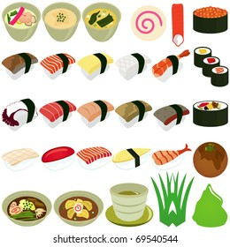 Vector of Japanese Cuisine - Sushi, Soup, Nigiri sushi. A set of cute and colorful icon collection isolated on white background