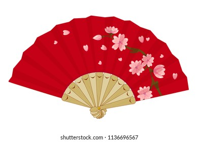 Vector japanese folding fan with sakura branch, cherry blossom flowers. Vintage geisha accessory isolated on white background.