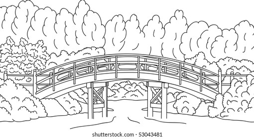 Vector   Japanese Garden With A Bridge Over Water