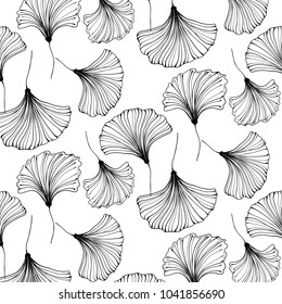 Vector japanese gingko beautiful background. Floral textile decoration. Vintage leaf pattern. Interior design.  Bohemian tropical leaves.