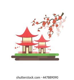 Vector Japanese houses