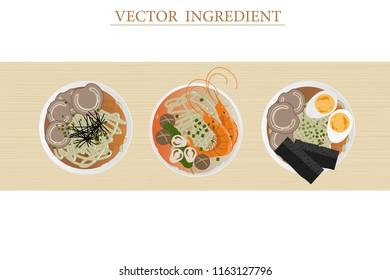 vector japanese noodle soup