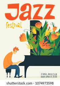 Vector jazz festival poster with musicion playing piano. Jazz concert poster.
