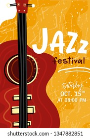 Vector Jazz festival poster template. Double bass or guitar on yellow grange background with text. Perfect for music events, jazz concerts.