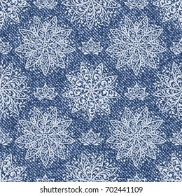 Vector Jeans background with Lotus Flowers Mandala Pattern. Denim seamless pattern. Blue jeans cloth