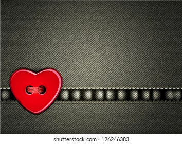 Vector jeans background Valentine's Day with a heart of the button