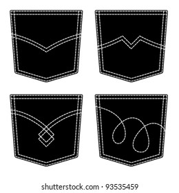 vector jeans pocket black symbols