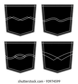 vector jeans pocket black symbols