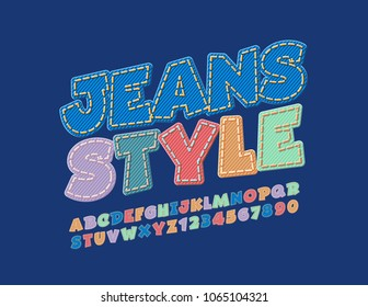 Vector Jeans Style Alphabet set. Rotated Denim Font. Fashion Design Letters, Numbers and Symbols