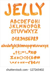 Vector jelly alphabet on a white background