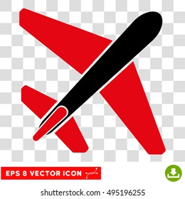 Vector Jet Airplane EPS vector pictograph. Illustration style is flat iconic bicolor intensive red and black symbol on a transparent background.
