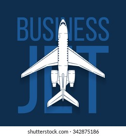 Vector jet passenger isolated airplane. Top view business aircraft design with sample text on dark blue background.