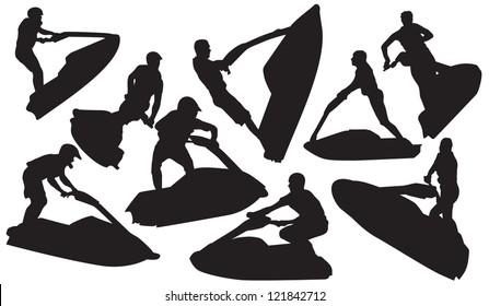 Vector jet ski silhouette