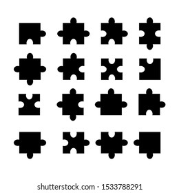 Vector jigsaw black mock up. Puzzle template. Set of different black pieces of puzzle isolated.