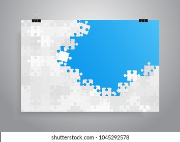 Vector jigsaw puzzle poster template hanging on clip binders. Puzzle grid simple background, banner, blank, backdrop. Jigsaw frame outline details abstract creativy illustration.