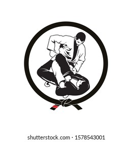 vector of Jiu jitsu locking position character design eps format