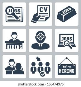 Vector job hunting, job search, human resources icons set