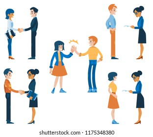 Vector job interview and career offering concept characters set. Male, female characters - interviewers and applicants shaking hands, men and women in suits giving high five, communicating.