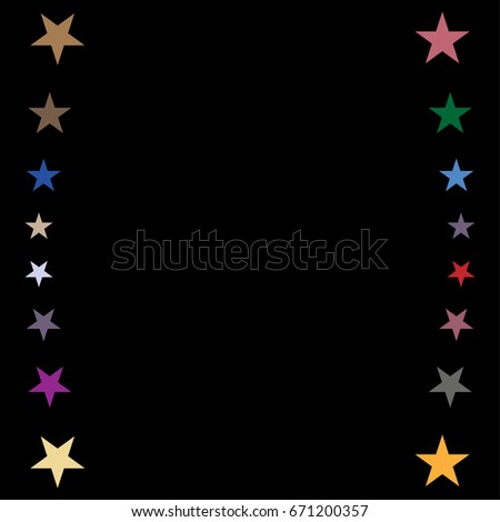 vector jolly starry border in rainbow colors on black shiny stars childrens design festive
