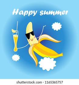 Vector jolly yellow banana cartoon with a cocktail on a blue background