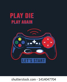 Vector joysticks gamepad illustration with slogan text, for t-shirt prints and other uses. - Vektör