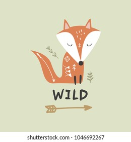 """Vector and jpg image. Baby fox and  inscription """"Wild"""". Scandinavian art. Decor elements for your stuff and graphic design. Good for gift card and kids products. Clipart. Isolated."""