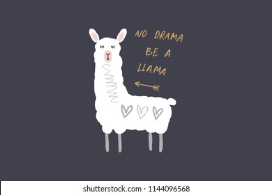 Vector and jpg image, clipart, editable isolated details. No drama llama cartoon funny art, baby stylish Illustration, unique print for posters, cards, mugs, clothes, childs goods and other.