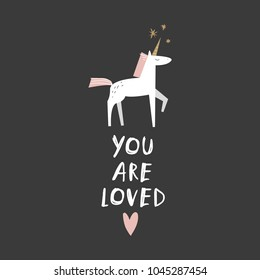 Vector and jpg image. Cute white unicorn. Scandinavian art. Decor elements for your stuff and graphic design. Good for gift card and kids products. Clipart. Isolated.