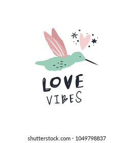 Vector and jpg image. Summer colibri print. Handwritten text. Decor elements for your stuff and graphic design. Good for clothes and gift card. Clipart. Isolated.