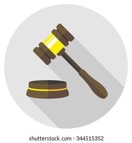 vector judge gavel /auction, court / flat style / brown colors