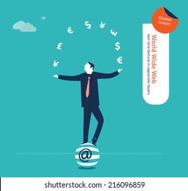 Vector juggler with currency signs. Vector illustration Eps10 file. Global colors. Text and Texture in separate layers.