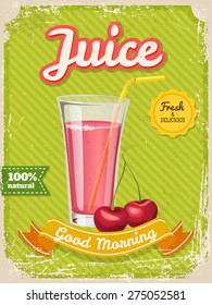 Vector Juice poster in vintage style with typography elements