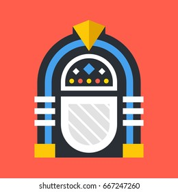 Vector jukebox icon. Retro jukebox isolated on red background. Flat design vector illustration